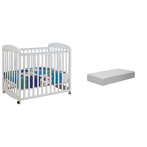 Alpha Mini Rocking Crib with Complete Mini Mattress with Hypoallergenic Waterproof Cover