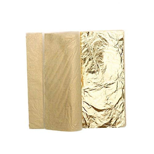 ULTNICE Gold Leaf Sheets Imitation Gold Foil for Art Crafts Gilding Crafting 100 Sheets