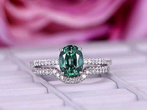 Oval Alexandrite Engagement Ring Set Pave Diamond 14K White Gold 6x8mm ()