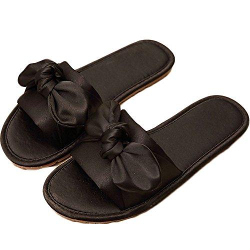 en Occasionnels ZongsenC Femmes Papillon Satin Noir Pantoufles De Sandales Pantoufles Nœud Plage Chaussures w6vqC6xXR