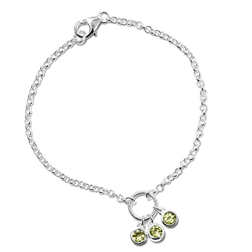 925 Sterling Silver Round Peridot Bracelet for Women 7.25