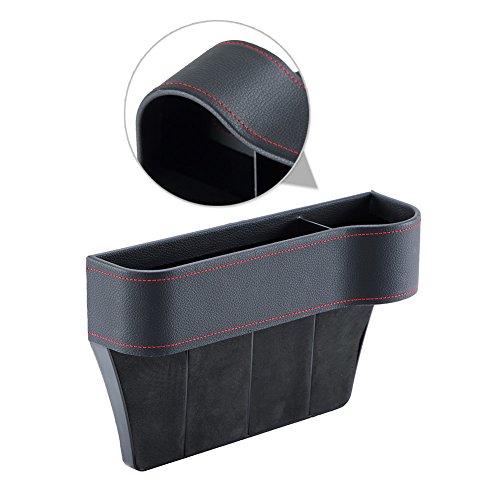 Xpro Auto Black PU Leather Car Pocket Organizer Seat Gap Filler Box w/Cup Holder