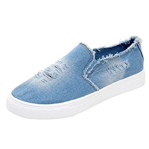 Creazrise Women's Classic Flats Memory Foam Cushioned Elastic Gore Soft Canvas Daily Slip-On Casual Sneaker Flat Shoes Light Blue