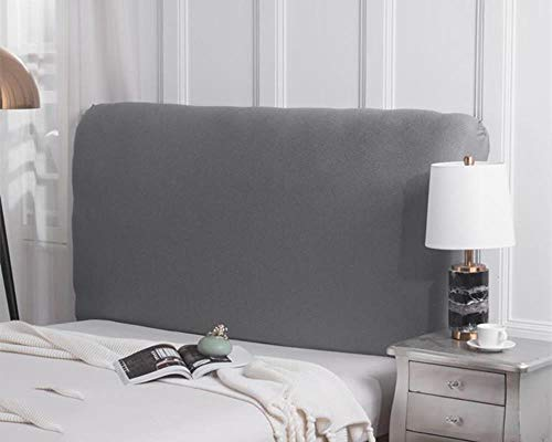 (WOMACO Bed Headboard Slipcover Protector Stretch Solid Color Dustproof Cover - Light Gray-1, Queen)