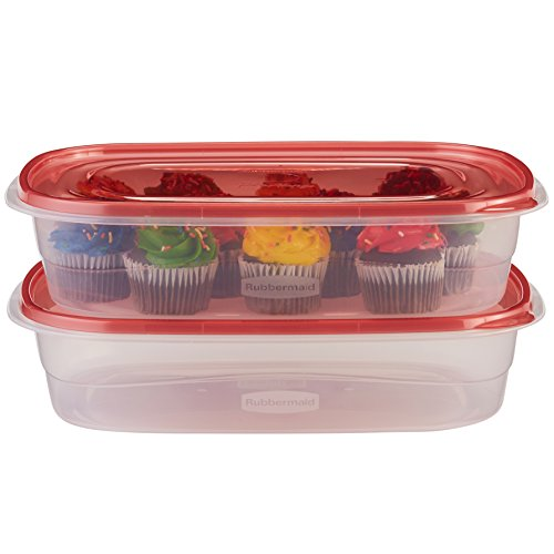 Rubbermaid TakeAlongs Large Rectangular Food Storage Containers, 1 Gallon, Tint Chili, 2 Count ()
