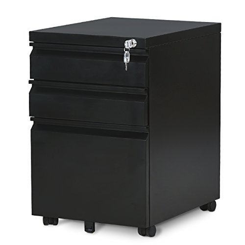 DEVAISE 3-Drawer Mobile File Cabinet with Lock, 19.7