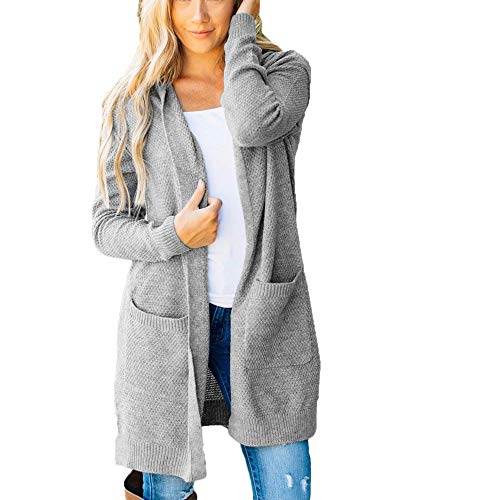 Women's Loose Long Cardigan Knitted Hooded Cardigan with