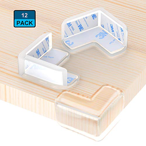 Clear Corner Protector (12 Pack), Corner Guards for Baby Safety Proofing, Large Size, High Resistant Adhesive, Soft, Tables, Furniture & Sharp Corners (L-Shaped)