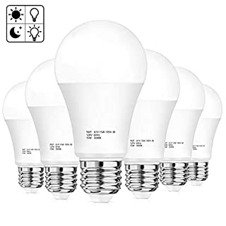 Dusk to Dawn Sensor Light Bulbs, A19 Auto On Off LED Light Bulb 15W(100-125 Watt Equivalent), 1500 Lumens, E26 Base, 3000K Warm White, Smart Sensor Lights for Indoor Outdoor Porch Garage, Pack of 6