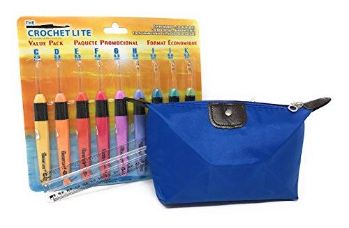 Light Up LED Crochet Hook Set with Storage Bag and Magnifying Ruler