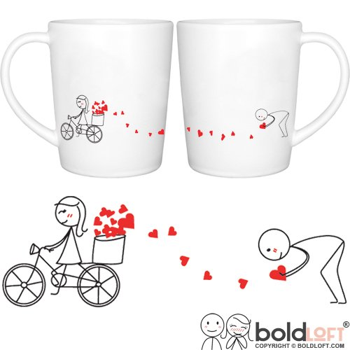 BOLDLOFT All My Love for You Couple Coffee Mugs- Cute Valentine's Day Gifts for Him, Romantic Anniversary Gifts for Him, Cute Gifts for Boyfriend, Couple Gifts, His and Hers Coffee Mugs, Husband Gifts