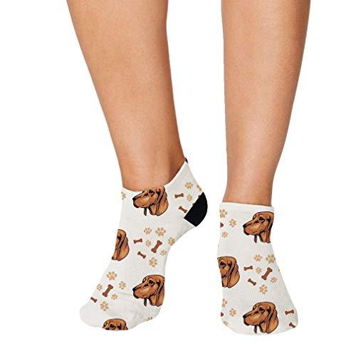 Redbone Coonhound Dog Breed Pattern #2 Men-Women Adult Ankle Socks Crazy Novelty Socks Polyester & Polyester Blend Set of 3 - Coonhound Breed Dog