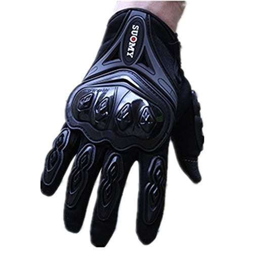 Wonzone Men's Tech Touch Gloves Full Finger Smart Motorbike Powersports Gloves for Motorcycle Racing Cycling Tactical Airsoft Outdoor Sports (Black, Large)