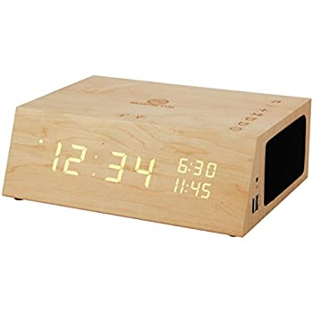 Alarm Clock Radio Bluetooth Speaker by GOgroove - TYM+ [2018 Edition] Wood Digital Alarm Clock LED with FM Radio, Battery Backup, USB Phone Charging Ports, ...