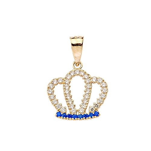 Exquisite 10k Yellow Gold Radiant Diamond and Sapphire Royal Crown Pendant