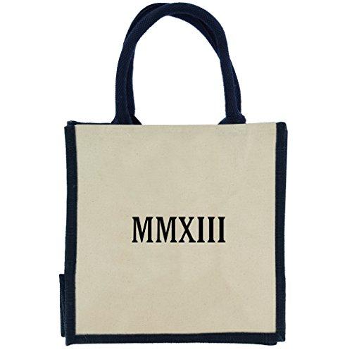 Jute Midi Einkaufstasche mit Deep Navy Griffe,, und 2013römischen Ziffern in schwarz print