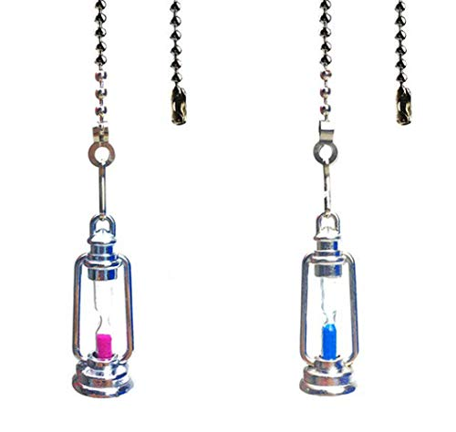 Hyamass 2pcs Lantern Charm Hourglass Pendant Ceiling Fan Danglers Fan Pulls Chain Extender with Ball Chain Connector(Silver)