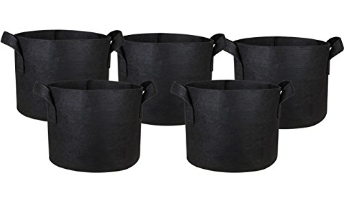 HONGVILLE 5-Pack Grow Bags/Aeration Fabric Pots w/Handles (15-Gallons, Black)
