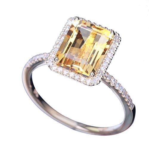 ✥ Shusuen ✥ Diamond Ring Hearts and Arrows Zircon Ring Exquisite Jewelry...