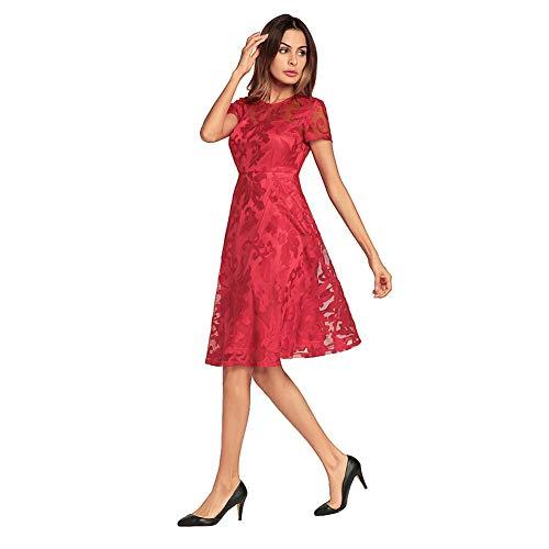 Dreagel 1950 Robe De Bal Vintage Femmes Robes De Cocktail En Dentelle Courte Une Ligne Rouge