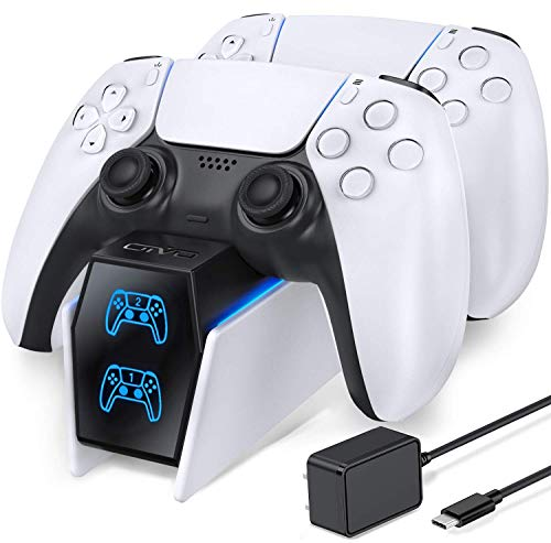 OIVO PS5 Dual Controller Charger Docking Station Compatible with Playstation 5 PS5 DualSense Controller, Fast Charging Dock Station with LED Indicators- Fast Charging 5V/3A Adapter Included