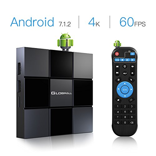 Android 7.1.2 TV Box, Globmall X3 2018 Mini Wi-Fi TV Box Supports 4K Full HD/3D/H.265 for Social Network, On-line Movies etc.