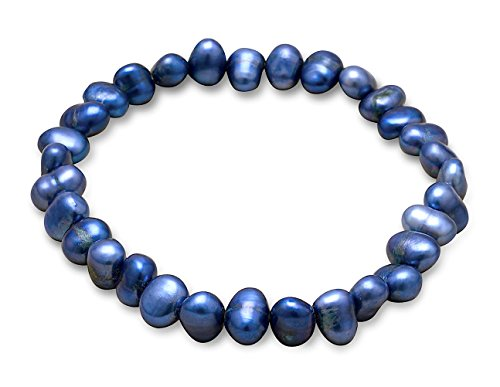 Silver Messages Dyed Dark Blue Cultured Freshwater Pearl Bracelet, Stretch, 7 to 7-1/2 inch, 6-9mm