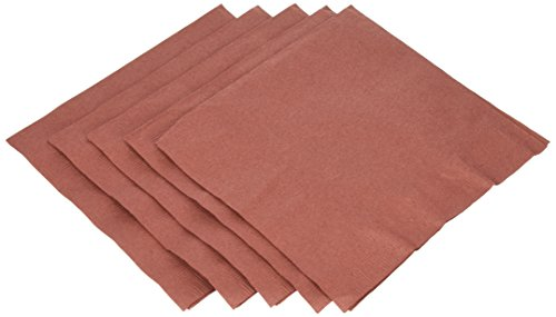 Amscan Disposable 2-Ply Luncheon Party Napkins (50 Pack), Brown, 6.5