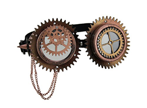 Apocalyptic Costumes - Plastic Mens Costume Headwear And Hats Gears & Spikes Metallic Steampunk Goggles W/Chain - 6.5 X 3 X 2.5 Inches - Copper - Style # 18090