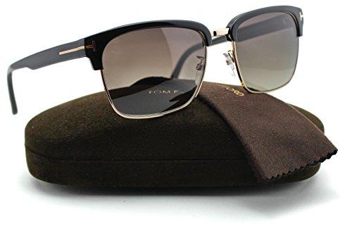 Tom Ford FT0367 RIVER Unisex Acetate Sunglasses (Shiny Black Frame, Smoke Polarized Lens ()