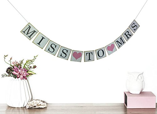 Miss to Mrs Banner - Peach Bridal Shower Decorations - Bridal Party Photo Prop - Miss to Mrs Sign (Retro white) (Miss Photo)