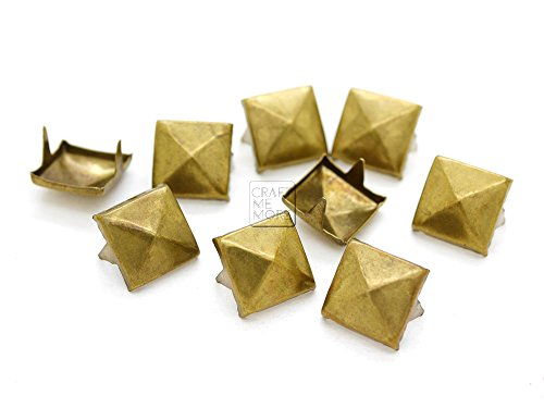 Wristband Pyramid (CRAFTMEmore 100pcs Antique Brass Pyramid Studs Spot Nailheads 2 Prongs Square DIY Spike for Shoes Cloth Punk Accessories (8.5 MM))