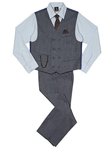 Steve Harvey Boys' Big' Four Piece Vest Set, Navy Denim, 10 ()