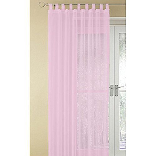 Baby Pink Pair Of Voiles Sheer See Through Nursery Curtains Nets Tab Top  60cm X 90cm