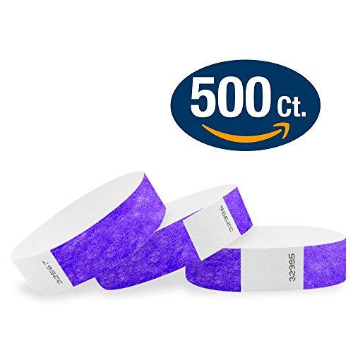 "WristCo Purple 3/4"" Tyvek Wristbands - 500 Pack Paper Wristb"