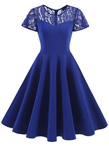 IVNIS RS90038 Women's Vintage 1950s Short Sleeve A-Line Cocktail Party Swing Dress With Floral Lace Royalblue - 1950 Fashion Women