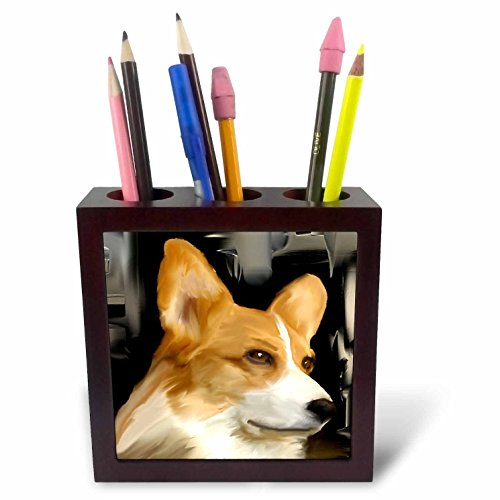 3dRose ph_4068_1 Corgi Tile Pen Holder, 5-Inch ()
