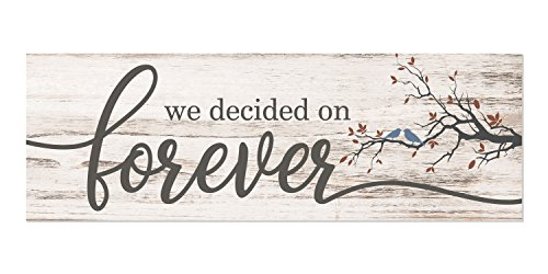 We Decided On Forever White Rustic Wood Wall Sign 6x18 (No Frame) (Bed The Over Decor)