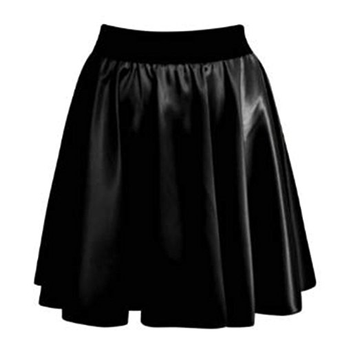 Generic Damen Kleid Schwarz Schwarz One size Wet Look Flared Skater Skirt Mi4cRyp