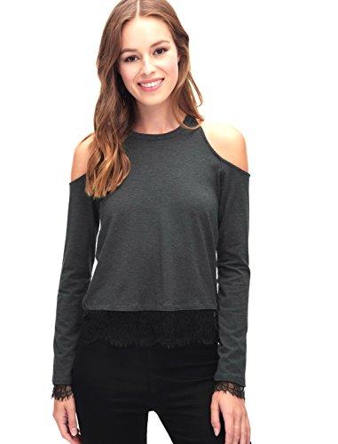 SPLENDID Womens Lace Trim Cold Shoulder Top Sz L Charcoal & Black 270880DH