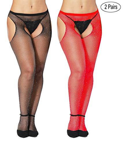 Womem's Sexy Black Fishnet Tights Plus Size Net Pantyhose Stockings (Diamond_Black and Red, Plus -