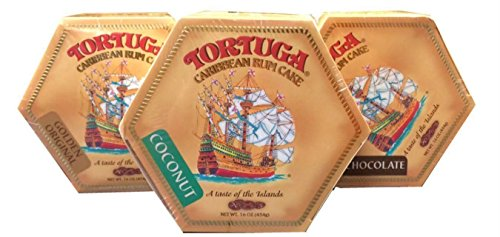 Tortuga Caribbean Rum Cake Assortment - Original, Chocolate & Coconut 16oz Rum Cakes