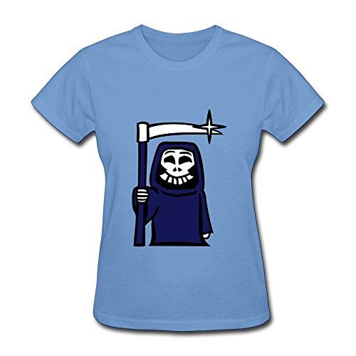 Vansty Grim Reaper 100% Cotton Shirts For Women Sky Size XXL