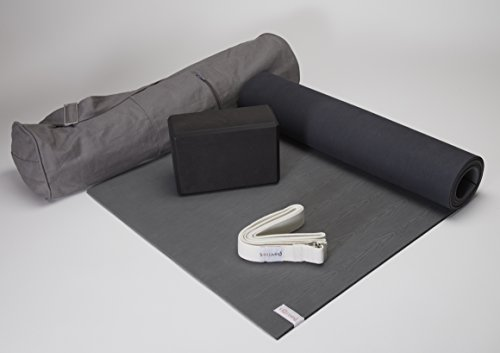 Sol Living Yoga Starter Kit 4 Piece Set - 1 Grey Rubber Yoga Mat 1 Grey Cotton Yoga Mat Bag 1 Black Foam Block 1 Grey Exercise Strap by Sol Living