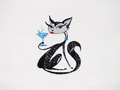 CAT with a Blue Martini TOWEL EMBROIDERED DESIGN ~ PERFECT GIFT! (Towel Guest Pets)