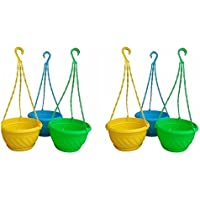 Dhavesai 6 Inch Hanging Pot Multicolour (Set Of 6)