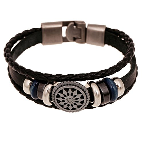Dog Brother Mens Women Punk Style Alloy Sunflower Black Rope Leather Alloy Hasp Bracelet Length 8 inches