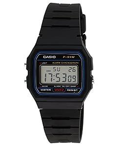 Casio Youth Series Digital Black Dial Unisex Watch - F-91W-1Q(D002)