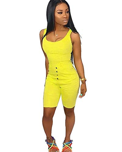 Womens Track Suit Crop Tops and Skinny Pants Two Piece Outfits Yellow S