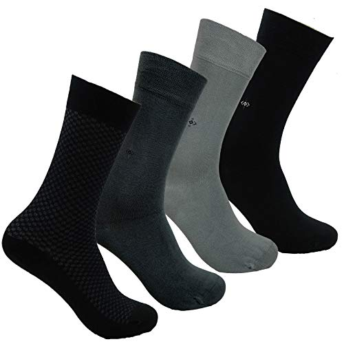 Natural BAMBOO SOCKS - 4 Pair, Antibacterial, Soft, Smooth Cashmere Touch ()